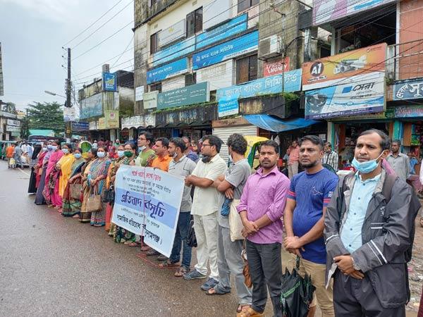 সামাজিক অনাচারের বিরুদ্ধে সুনামগঞ্জে মানববন্ধন