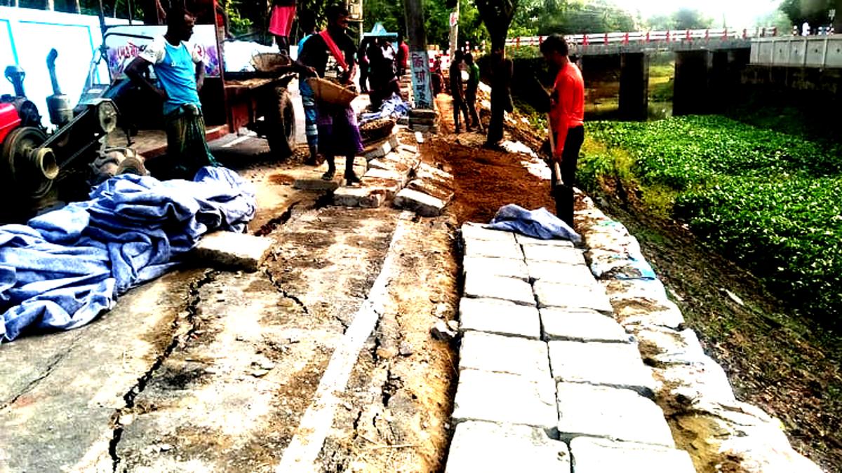 সুনামগঞ্জের জগন্নাথপুরে নবনির্মিত সড়কে ফাটল, জনমনে ক্ষোভ